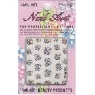 3D nail art sticker - butterfly with colourful rhinestones