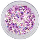 Violet-pink confetti in dust powder, 1mm - holographic hexagons