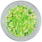 Light green nail art hexagon in dust powder, 1mm