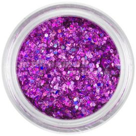 Holographic nail art hexagons in dust powder - violet-pink, 1mm