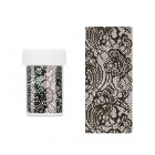 Decorative nail foil - holographic with black net with flower motif
