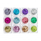 Nail art kit – 12pcs – circles in metallic colour