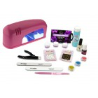Christel French set for gel nails + 1-bulb pink lamp
