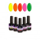 Kit of 5 high-quality gel nail polishes 2in1 - neon