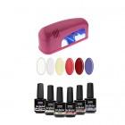 Sample set – UV gel/varnish 6x15ml + 1-bulb pink lamp 9W