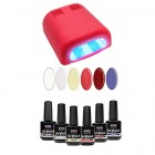 Sample set – UV gel/varnish 6x15ml + 4-bulb red lamp 36W