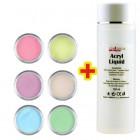 Pastel Colour set 6pcs + Acryl Liquid 100ml FREE