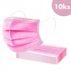 10pcs, Face mask with an elastic band – pink, 3-layers