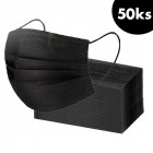 50 pcs, Face mask with an elastic band – black, 3-layers