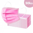 50pcs, Face mask with an elastic band – pink, 3-layers