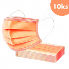 10pcs, Face mask with an elastic band - orange, 3-layer