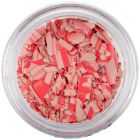Randomly shaped confetti flakes - beige and red with stripes