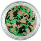 Randomly shaped confetti flakes - brown, green, black