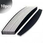 10pcs - Professional nail file, black, half moon 80/80