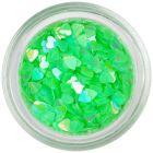 Neon green translucent hearts