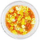 Orange-yellow round disk glitters