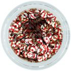 Round disk sequins - silver with red stripes