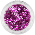 Silver nail art sequin disks with pink stripes