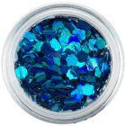 Nail art confetti - turquoise blue flowers, hologram