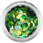 Decorative flower confetti - green, hologram