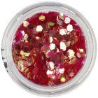 Sequins - hexagon aqua elements, red