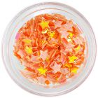 Orange opalescent decorations for nails - fabric stars