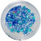 Nail art decorations - opalescent fabric stars, blue