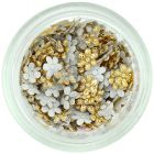 Fabric flowers for nails decoration - gold