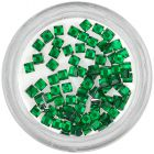 Emerald green decorations for nails - rhinestones, squares