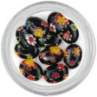 Black decorations for nails with pattern - rhinestones, oval