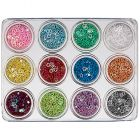 12pcs nail art kit - hollow stars, 5g